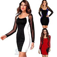 Sexy Slim Bodycon Mesh Long Sleeve Formal Evening Cocktail Party Club Wear Dress