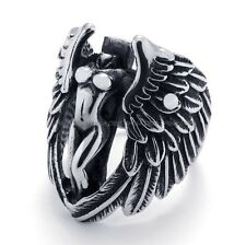 316L Stainless Steel Titanium Naked Angel Feather Wing Biker Men's Ring G074565
