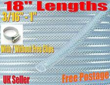 """18"""" Clear PVC Braided Hose Pipe Food Grade Air Water Reinforced Free Hose Clips"""