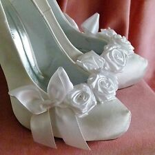 Ivory Satin Shoes Bridal  Wedding Shoes Rose Bow Vintage Unique Custom White