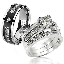 His Hers 4 Pcs Nice CZ .925 Sterling Silver Black Titanium Wedding Ring Band Set