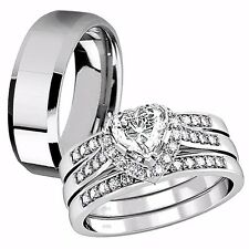 4 Pcs Her Sterling Silver Heart CZ His Tungsten Engagement Wedding Ring Band Set