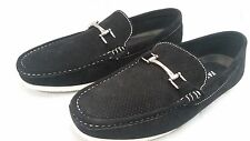 AUTH FARANZI  FAUX SUEDE VENTED SLIP ON  LOAFERS WITH BUCKLE-BLACK (FA 56)