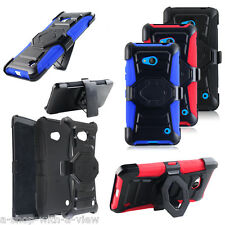 For Nokia Microsoft Lumia 640 Rugged Hybrid Hard Clip Case Cover Holster Stand