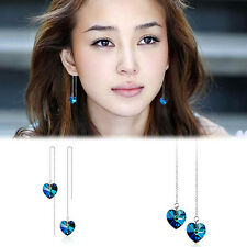 Womens Silver Blue Swarovski Crystal Heart of Ocean Long Earrings Elegant Chic