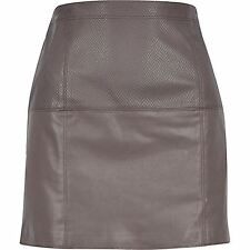 River Island Brown Leather-Look Pelmet Skirt WITH DEFECT
