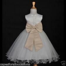 IVORY CHAMPAGNE WINE JR BRIDESMAID PAGEANT FLOWER GIRL DRESS 18M 2 4 6 8 9 10