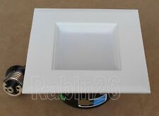 """4"""" RECESSED CAN LIGHT DIMMABLE LED RETROFIT KIT SQUARE STEP BAFFLE 120V WHITE"""