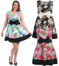 New Ladies Plus Size Contrast Floral Sleeveless Bow Skater Dress 16-22