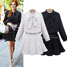 Women summer Plus Size Chiffon Pleated small dot bow Long sleeve Slim mini Dress