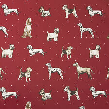 Vintage Shabby Chic Red Tablecloth Dogs Oilcloth Wipeclean PVC Vinyl