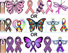 60x Pink Ribbon OR Autism Awareness OR Purple Ribbon Nail Art Decals + Free Gems