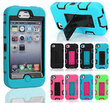 For Apple iPhone 4 4G 4S Heavy Duty Hybrid Rubber Gel Kick-Stand Hard Case Cover