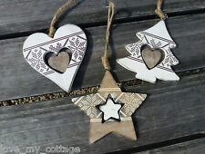 Shabby Chic Rustic Nordic Lace Tree Star Heart Christmas Decorations Set 3