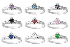 Petite Irish Heart Claddagh Birthstone CZ Knuckle Baby Sterling Silver Ring