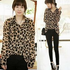 Allover Leopard Womens Lady Long Sleeve Button Down Shirt Blouse Irregular Hem