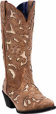 "Laredo Western Boots Womens 13"" Bone Underlay Tan Crackle 52041"