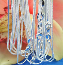 """XMAS Wholesale 925 sterling silver lots 5pcs 1mm snake chains 16""""-30"""" Necklace"""