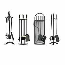3 & 4Pc Companion Fireside Fireplace Fire Tool Set with Brush Shovel Tongs Poker