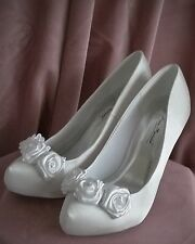 Ivory Bridal Shoes Satin Nu Rose Fairytale Bow Wedding Vintage Shabby Chic White