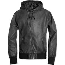 Brandit Dean Retro Mens Pu Leather Security Jacket Hooded Biker Zip Coat Black