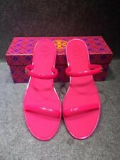 NEW AUTH Tory Burch TWO-BAND JELLY SLIDE SANDAL FLUO PINK