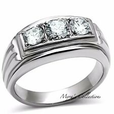 Men's Round Cut CZ Silver Stainless Steel 316L Wedding Fashion Ring Band Sz 8-13