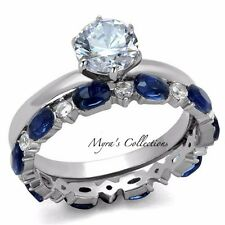 2.25 Ct Round Cut Clear & Blue CZ Stainless Steel Wedding Set Women's Size 5-10