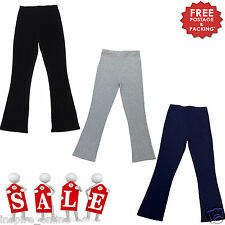 LADIES WOMENS BOOT CUT LEG RIBBED STRETCH TROUSERS ELASTICATED WAIST PLUS SIZE