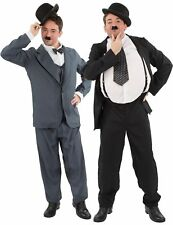 Mens Stan Laurel and Oliver Hardy Film Couple Fancy Dress Costume