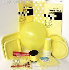 Yellow Party Paper Plates Napkins Cups Cutlery Table Covers Balloons Tableware