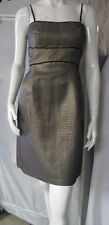 NWT MAX & CLEO BY BCBG Gold Textured Sleeveless With Black Piping Sheath Dress