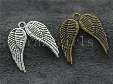10/40/200pcs antique silver Two-sided Birds Wing Jewelry Charms Pendant 21x19mm