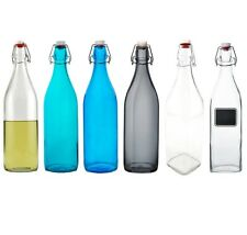 Glass Swing Top Bottle - 33 3/4 oz - Bormioli Rocco - Clear/Blue - Water/Vinegar