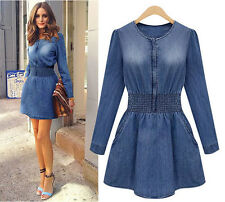 2015 Autumn Vintage Women Long Sleeved Slim Casual Denim Jeans Party Vogue Dress
