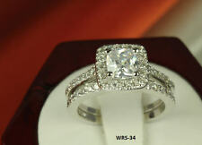 3.8 CT STERLING SILVER PRINCESS CZ PAVE BRIDAL ENGAGEMENT WEDDING HALO RING SET