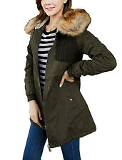 Ruched Long Sleeve Slant Pockets Front Padded Parka Jacket for Lady