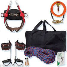 Tree Climbing Spur Kit,Saddle,12' Flipline Kit, Spikes,Gear Bag,150' Rope,Book
