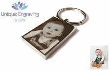 Personalised Photo/Text Engraved Keyring Mirror Polished - Great Christmas Gift!