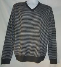 Men's Club Room NWT Gray Striped Merino Wool Blend V Neck Sweater