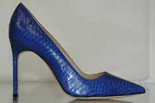 $935 New Manolo Blahnik BB 105 EXOTIC Royal BLUE Snake Shoes Pumps 37 40