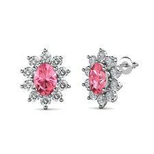 Oval Pink Tourmaline and Diamond Floral Halo Stud Earrings 3.95 cttw in 14K Gold