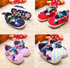 Baby Girl Polka Dot Bowknot Crib Princess Shoes Infant Soft Sole Toddler Shoes