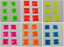 50 Neon Color Flatback Acrylic Square Sewing Rhinestone Beads 14mm Pick Color