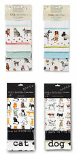 COOKSMART Cat or Dog Print Pack of 3 Tea Towels 100% Cotton Pet Lovers Gift