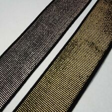 Gold & Silver 40mm Flat Wide Lurex Metallic Elastic. 1 2 4 8m. Belt Waistband Z2