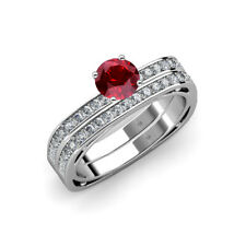 Ruby & Diamond Engagement Ring & Wedding Band 1.25 ct tw-1.29 ct tw in 14K Gold