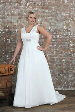 Sexy White Ivory Wedding Dress Chiffon Bridal Gown Plus Size:18 20 22 24 26 28++