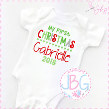 Personalised First Christmas Baby vest / bodysuit , ANY NAME Embroidered Gift