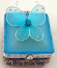 Pretty GLASS BUTTERFLY SQUARE SHAPE TRINKET JEWELLERY BOX - 4 COLOUR - Girl Gift